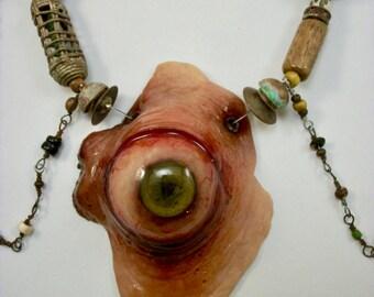 SALE, Voodoo Evil Eye ,Dead Eye, EyeBall, Cannibal, Bohemian,Bayou Horror Jewelry, Zombie Head Necklace
