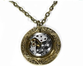 Steampunk Jewelry Necklace Vintage Round Jeweled Watch Celtic Wedding Anniversary Mother's Day BEAUTY - Steampunk Jewelry by edmdesigns