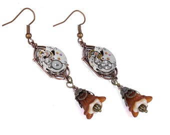 Steampunk Jewelry Earrings SEIKO Watch Movements Copper Brown Cream Bell Flowers Dangle ART DECO Wedding Anniversary - Jewelry by edmdesigns