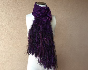 Purple and Black Scarf with Gothic Black and Purple Scarf Accessories Knit Purple Scarf with Very Dark Purple, Sparkling Fringe