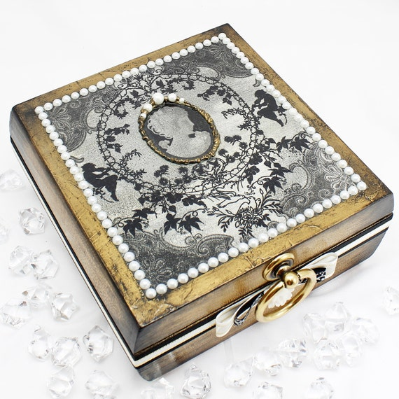 Wedding Gift Storage Box : Cameo Jewelry Box, Jewelry Storage, Wedding Gift Decorative Box ...
