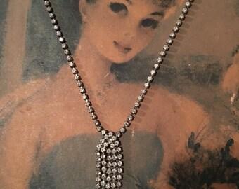 Rhinestone Choker Dangle Princess Wedding Necklace True Vintage