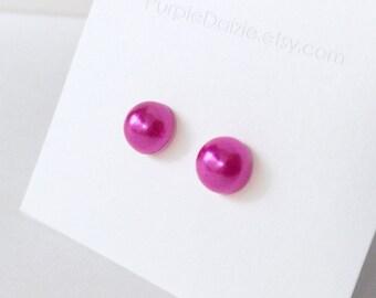 Dark Pink Faux Half Pearl Stud Earrings Kawaii Post Earrings No Metal Acrylic Posts Hypoallergenic Sensitive Ears Waterproof Jewelry 8mm