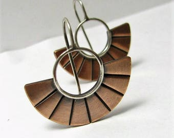 Copper Earrings, Contemporary Two Tone Earrings, Small Argentium Sterling Silver And Copper Fan Earrings, Modern Mixed Metal Earrings