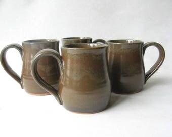 Pottery Mugs 14 oz Set of 4, Coffee Mugs, Set of Handmade Pottery Mugs, Set of Pottery Coffee Mugs, 14 oz Mugs, Stoneware Mugs