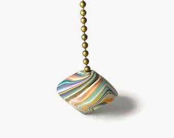 Fan Pull, Light Pull, Swirl Bead Fan Pull, Multi Color Fan Pull, Polymer Fan Pull, Decorative Fan Pull