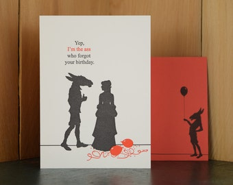 The Ass - letterpress birthday card