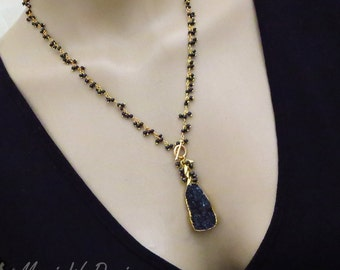 Untreated Natural Black Drusy Druzy Pendant-Black Spinel Fringe Charm Gold Fill Necklace
