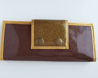 Women's wallet metalflake  vinyl brown with gold trim, gold duct tape, and gold snaps