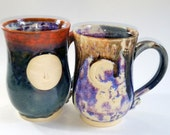 Reserved for Angela - 2 Large Mugs - Full Moon Face and Stars with Crescent Moon