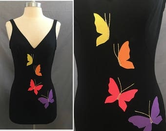 Sultry Vintage Black DeWeese One Piece Bathing Suit with Butterflies Size 12