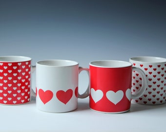 4 Vintage red and white heart coffee mugs - coffee cups set - excellent condition