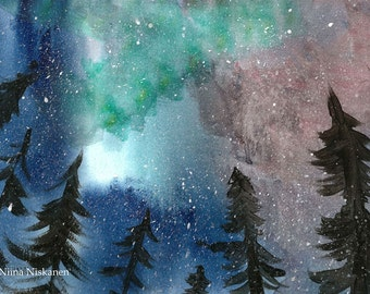 Northern Lights Original Painting Watercolor Landscape Northern Lights Trees Forest Winter Original Watercolor Art