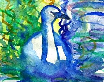 Guidance Art Print A5/ 5X7 Watercolor Swan Painting Watercolor Art Print Swimming Swan Water Reflection Art Print by Niina Niskanen