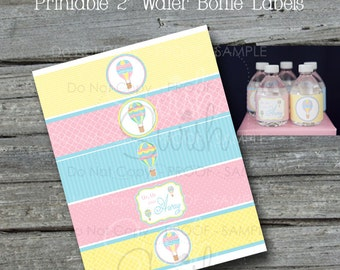 Hot Air Balloon Water Bottle Labels - HotAir Balloon Bottle Wraps - 2 inch labels Baby Shower First Birthday Graduation INSTANT DOWNLOAD