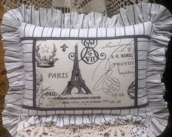 French Cottage Lace Patchwork Pillow Vintage Lace & Buttons