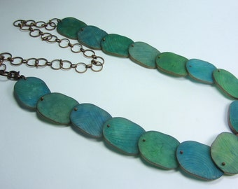 Blue Green Necklace - Polymer Clay Necklace - Copper Necklace - Etched Necklace - Blue Fimo Necklace - Translucent Necklace