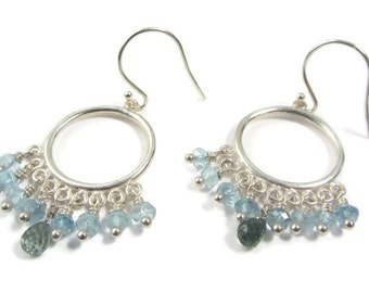 Tourmaline Earrings, Aquamarine Earrings, October Birthstone, March Birthstone, Earrings Blue Dainty, Silver Earrings Blue, Blue Boho Hoops