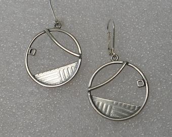 Sculptural  Sterling Geometric Hoop  Earrings