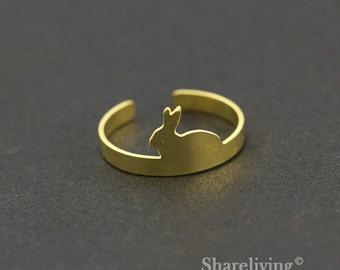 2pcs Raw Brass Rabbit Ring,Adjustable Bunny Brass Rings - TR004