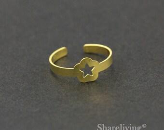 2pcs Raw Brass Cherry Blossom Ring, Adjustable Star Brass Rings - TR009