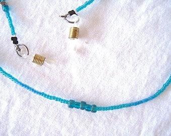 "Teal/Turquoise n Silver Beaded Lanyard or Eye Glass Holder 30"""