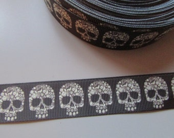 Black Patterned Skull  Grosgrain Ribbon x 1 metre