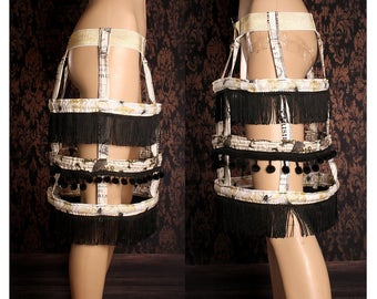 Dark Victorian hoop skirt, Gothic Lolita Cage Skirt, wasteland costume, Steampunk Bride, French Carnival, goth fantasy, festival fashion