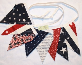 4th of July pennant bunting fabric banner in red white navy blue - 8 double sided flags total