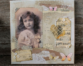 Brightly  10 x 10 inch altered mixed media collage art canvas and embellishments