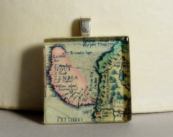 CLEARANCE SALE - Glass Tile Pendant #5 - Map