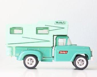 Vintage Buddy L Camper, Green Toy Camper Truck