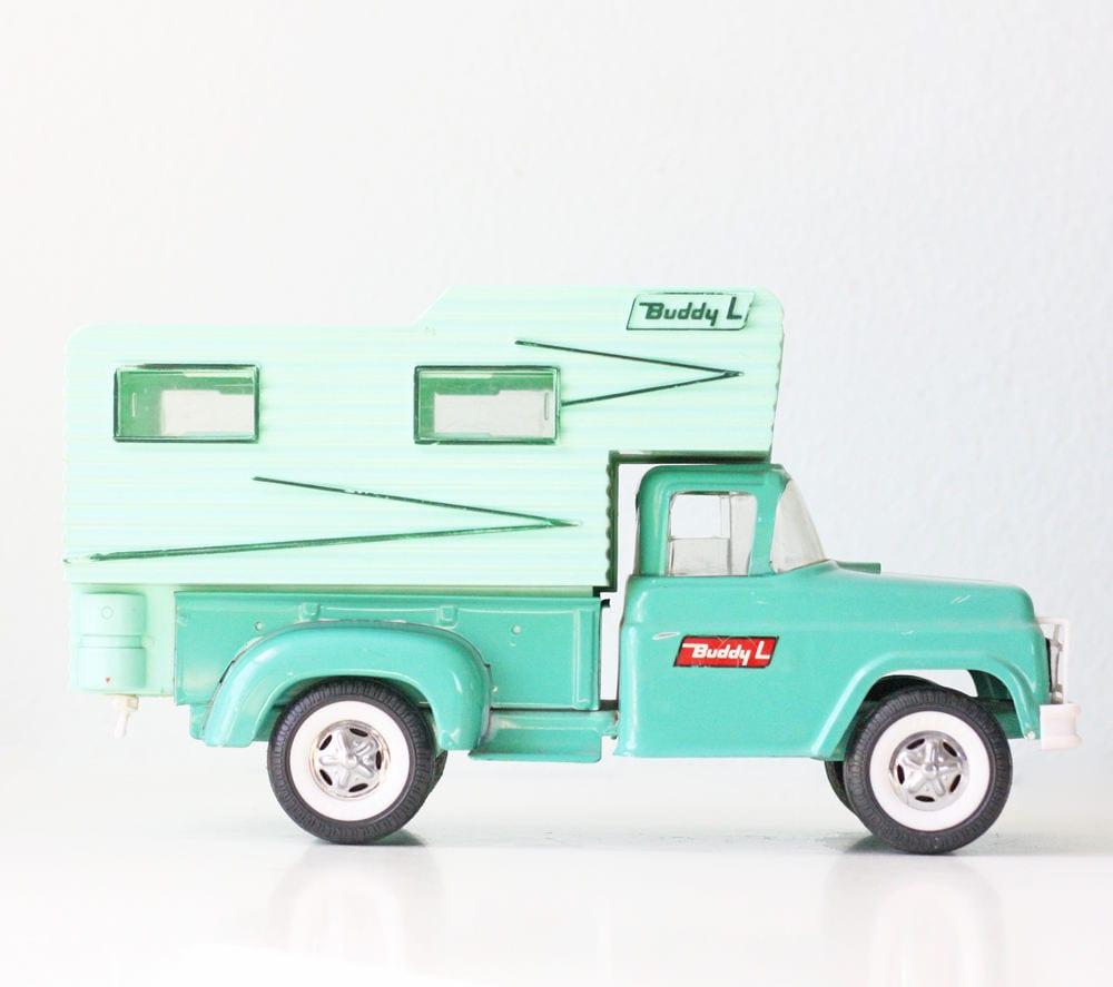 Vintage Buddy L Camper Green Toy Camper Truck