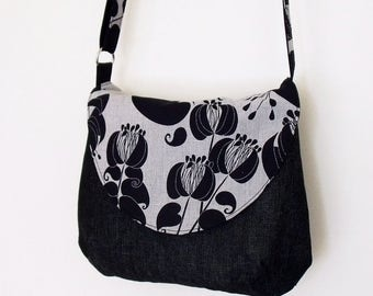 Crossbody bag with adjustable strap, black and grey flowers