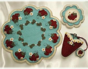 Candle Mat Kit, Penny Rug Kit, Wool Felt Kit, Strawberry Fields Candle Mat, Prim Wool Felt Kit, Merino Wool Candle Mat Scissor Fob Mini Mat