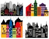 50% OFF SALE Superhero clipart - CIty buildings block clipart - Skyscraper clip art - Superhero city scene clipart - Digital images
