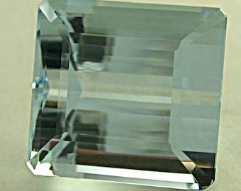 VINTAGE AQUAMARINE Blue Emerald Cut Gemstone 23.36 cts fg36