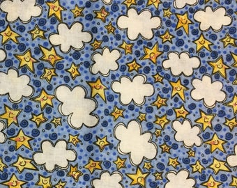 Clouds and Stars fabric 1 yard x 42 inches
