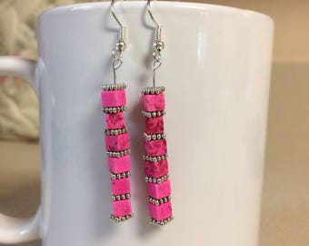 Pink turquoise howlite cube earrings