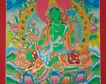 Original Painting  Green Tara  Goddess of Compassion-Non Profit