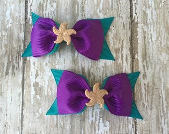 Little Mermaid Inspired Bow Mermaid Pigtail Bows Ariel Inspired Bow Mermaid Tuxedo Bow Mermaid Toddler Bow