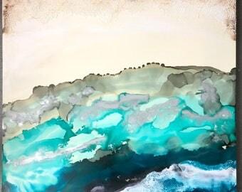 Original Artwork- encaustic mixed medium- Turquoise Hill
