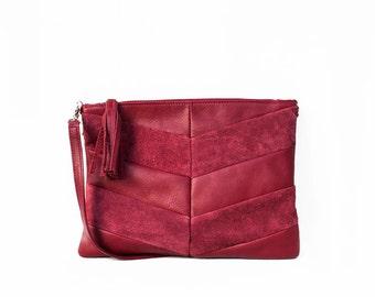 SALE Leather Clutch in Cranberry / Leather Clutch / Leather Clutch Bag / Envelope Clutch /Clutch Bag / Leather Purse / Clutch Purse