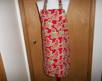 Gingerbread Apron Christmas Apron Reversible Full Gingerbread Men Cookies on Red Background Chef's Apron Cooking Apron Gift