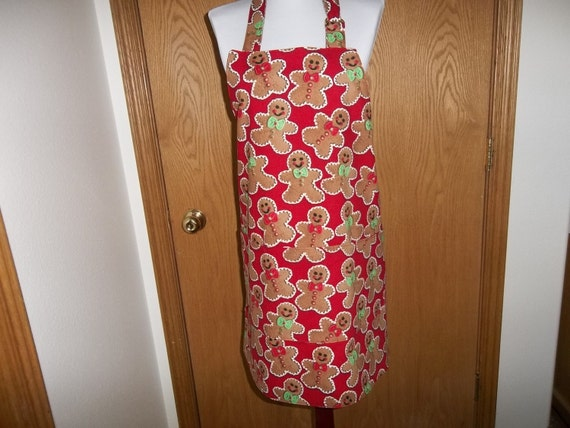 Gingerbread Apron, Christmas Apron Reversible Full Gingerbread Men Cookies on Red Background Chef's Apron Cooking Apron Gift