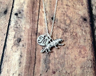 Tiger initial necklace - tiger jewelry, animal necklace, tiger jewelry, zoo animal jewelry, school mascot necklace, silver tiger necklace