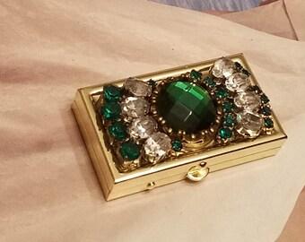 Stash/Pill Box/Emerald  Rhinestone Bling