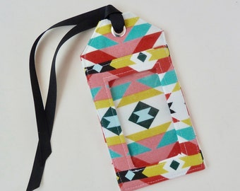 fabric luggage tag - party favors - save the date - id holder - travel gifts - travel accessories - southwestern
