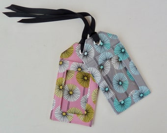 fabric luggage tag - floral - party favors - save the date - id holder - travel gifts - travel accessories