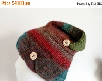 January Sale Elf Hat - Handknit Pixie Lightweight Hat in Woodland Colors - Button Band